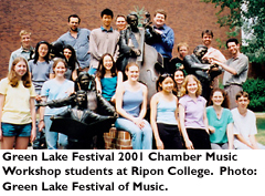 Green Lake Festival 2001 Chamber Music Workshop students at Ripon College. Photo: Green Lake Festival of Music.