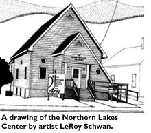A drawing of the Northern Lakes Center by Artist LeRoy Schwan