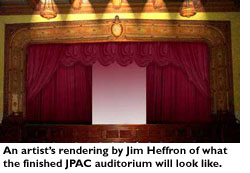 An artist's rendering by Jim Heffron of what the finished JPAC auditorium will look like.