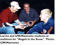 Larche and UW-Marinette students at auditions for