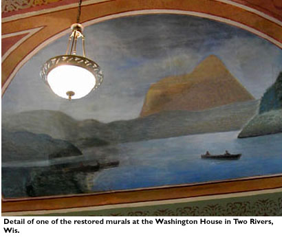 Detail of one of the restored murals at the Washington House in Two Rivers, Wis.