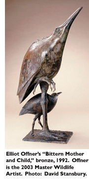 Elliot Offner's 'Bittern Mother and Child,' bronze, 1992. Offner is the 2003 Master Wildlife Artist. Photo: David Stansbury