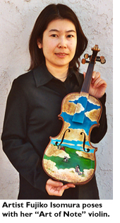 Artist Fujiko Isomura poses with her 'Art of Note' violin.