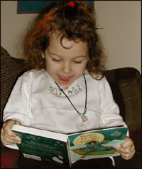 happy girl reading