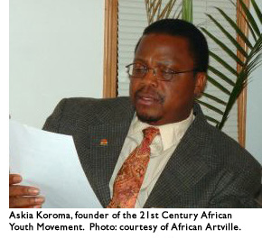 Askia Koroma, founder of the 21st Century African Youth Movement. Photo: courtesy of African Artville.
