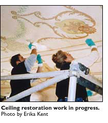 ceiling restoration in progress
