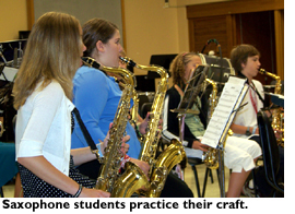 Saxaphone students practicing