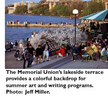 The Memorial Union's lakeside terrace provides a colorful backdrop for summer art and writing programs. Photo: Jeff Miller