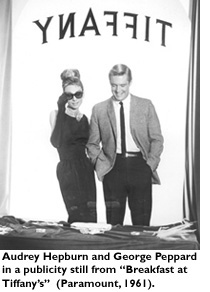 Audrey Hepburn and George Peppard in a publicity still from 'Breakfast at Tiffanys' (Paramount, 1961).